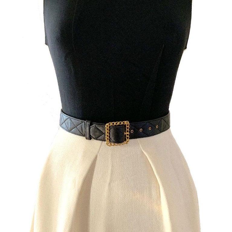 CHANEL Black Quilted Belt 4