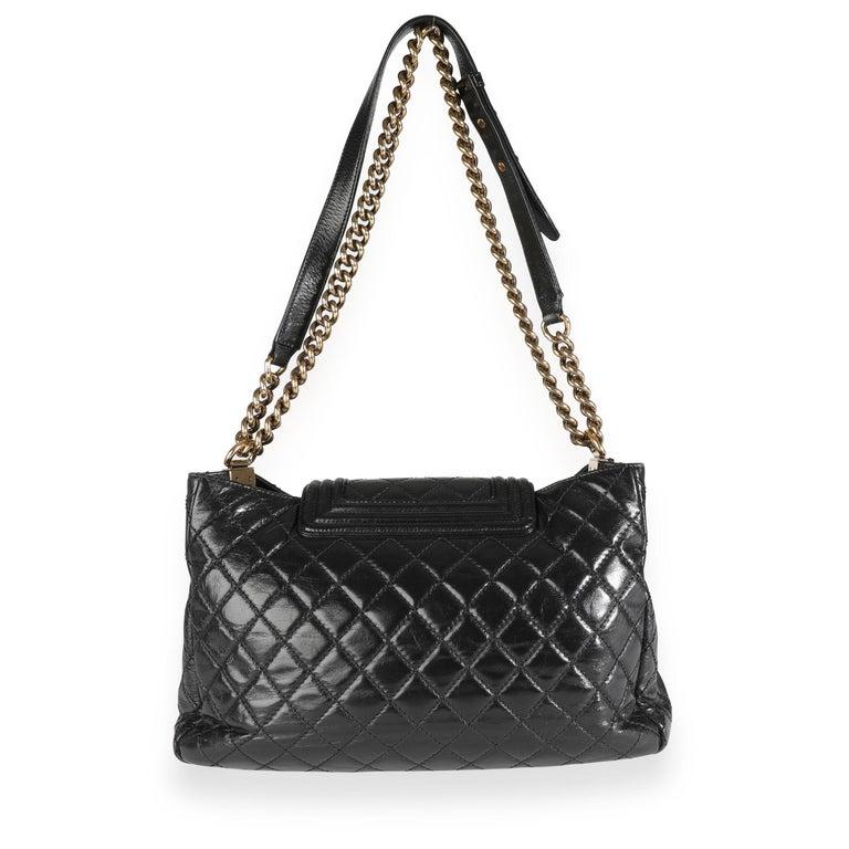 Chanel Black Quilted Boy Front Pocket Shopping Bag For Sale 3