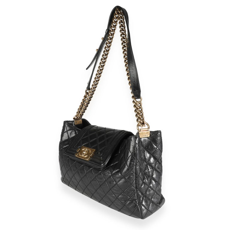Chanel Black Quilted Boy Front Pocket Shopping Bag For Sale 4