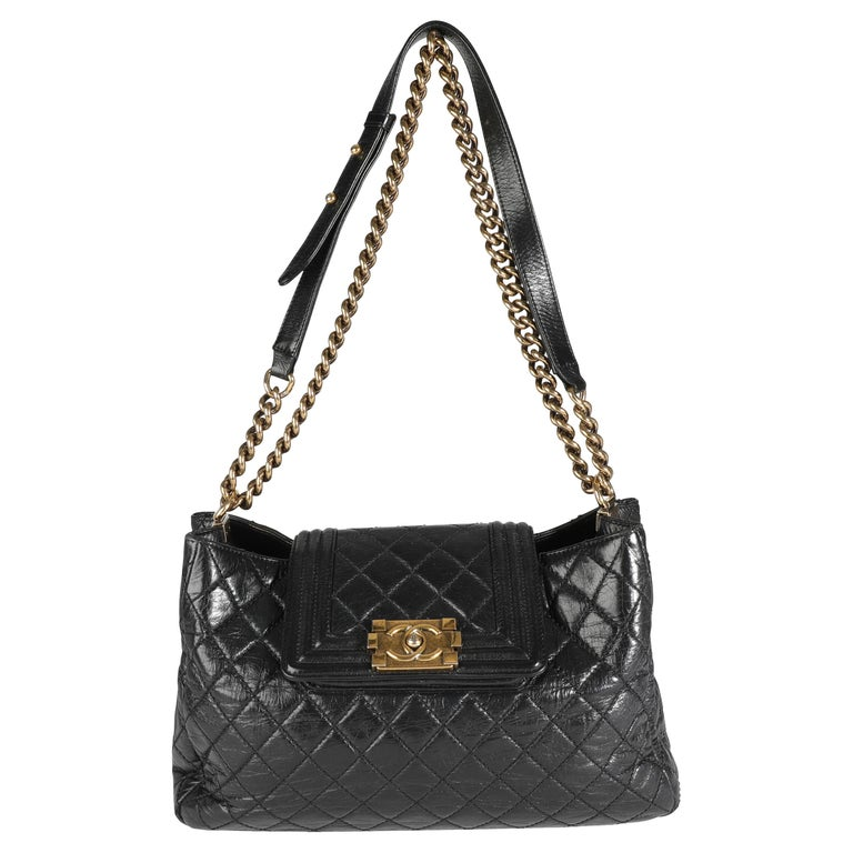 Chanel Black Quilted Boy Front Pocket Shopping Bag For Sale