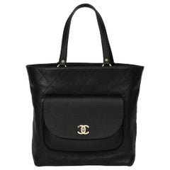 Chanel Black Quilted Calfskin & Caviar Leather Classic Tote