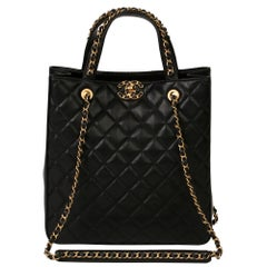 Chanel Black Quilted Calfskin Leather 19 Shoulder Tote