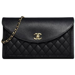 69c4068d027e Chanel Black Quilted Calfskin Leather Envelope Flap Clutch w/ Crossbody  Chain