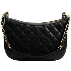 Chanel Black Quilted Caviar CC Shoulder Bag