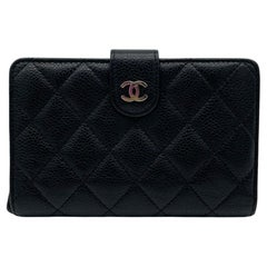 Chanel Black Quilted Caviar French Purse Wallet