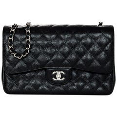 "Chanel Black Quilted Caviar Leather 12"" Double Flap Classic Jumbo Bag"