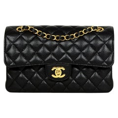 "Chanel Black Quilted Caviar Leather 9"" Small Double Flap Classic Bag w/ GHW"