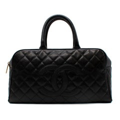 Chanel Black Quilted Caviar Leather Bowling Bag Top Handle Bag