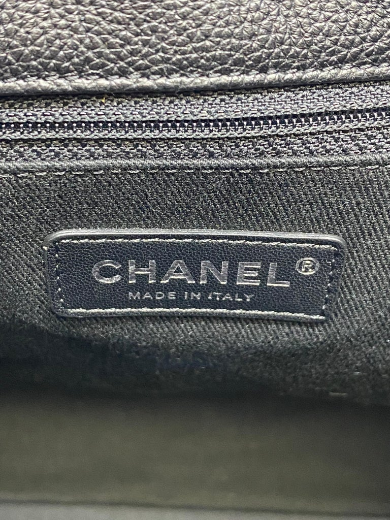 Chanel Black Quilted Caviar Leather Braided Handle Medium Hobo Bag 8