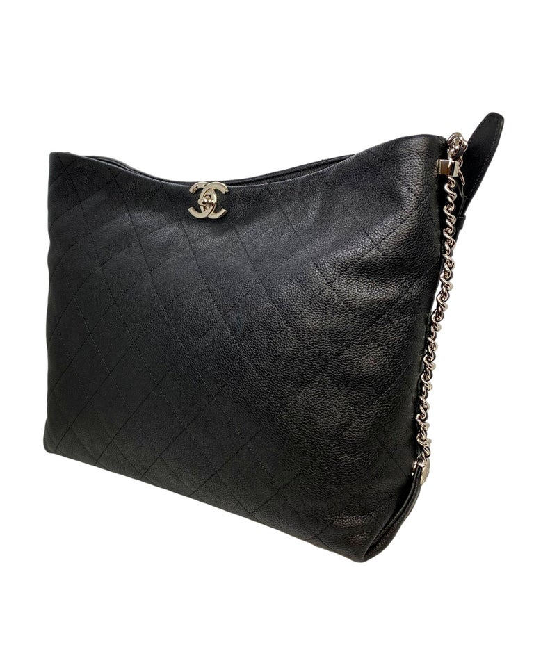 Chanel Black Quilted Caviar Leather Braided Handle Medium Hobo Bag, 2018. From the 2018 Cruise Collection, this Chanel shoulder hobo bag is crafted from the classic and Chanel's most durable black caviar leather that features a silver hardware,