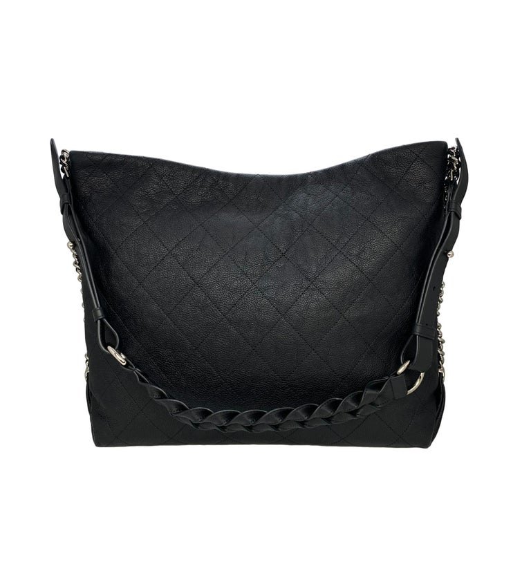 Chanel Black Quilted Caviar Leather Braided Handle Medium Hobo Bag 3