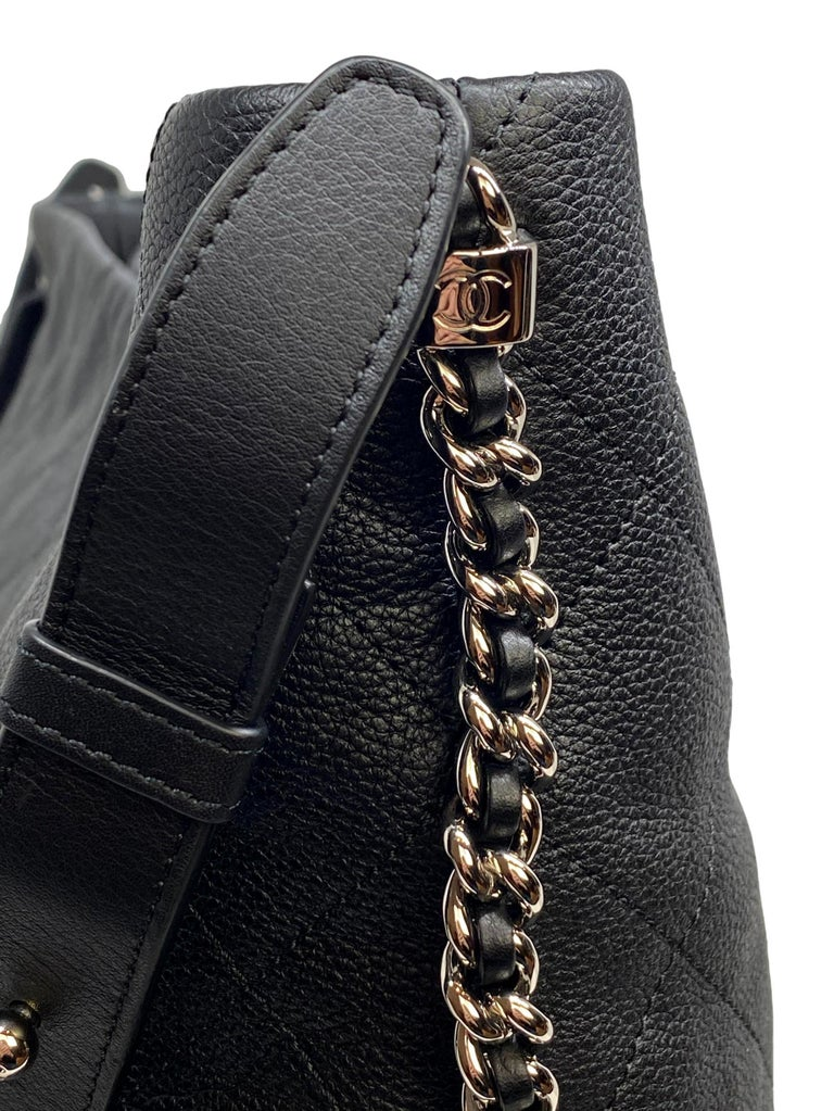 Chanel Black Quilted Caviar Leather Braided Handle Medium Hobo Bag 5