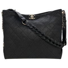 Chanel Black Quilted Caviar Leather Braided Handle Medium Hobo Bag