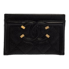 Chanel Black Quilted Caviar Leather CC Filigree Card Holder