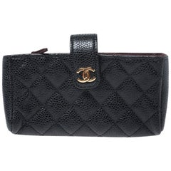 Chanel Black Quilted Caviar Leather iPhone Pouch