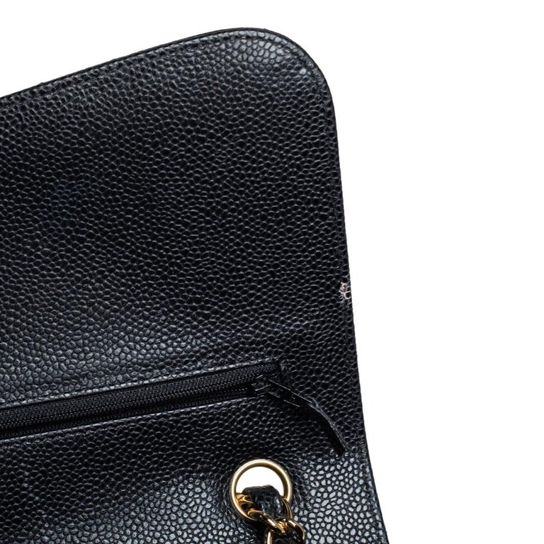 Chanel Black Quilted Caviar Leather Jumbo Classic Double Flap Bag For Sale 7