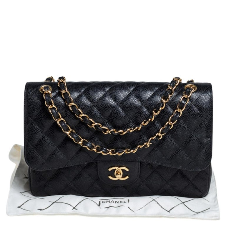 Chanel Black Quilted Caviar Leather Jumbo Classic Double Flap Bag For Sale 12