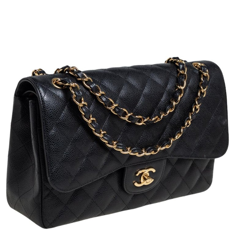 Women's Chanel Black Quilted Caviar Leather Jumbo Classic Double Flap Bag For Sale