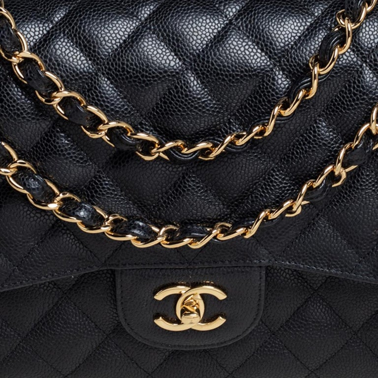 Chanel Black Quilted Caviar Leather Jumbo Classic Double Flap Bag For Sale 2