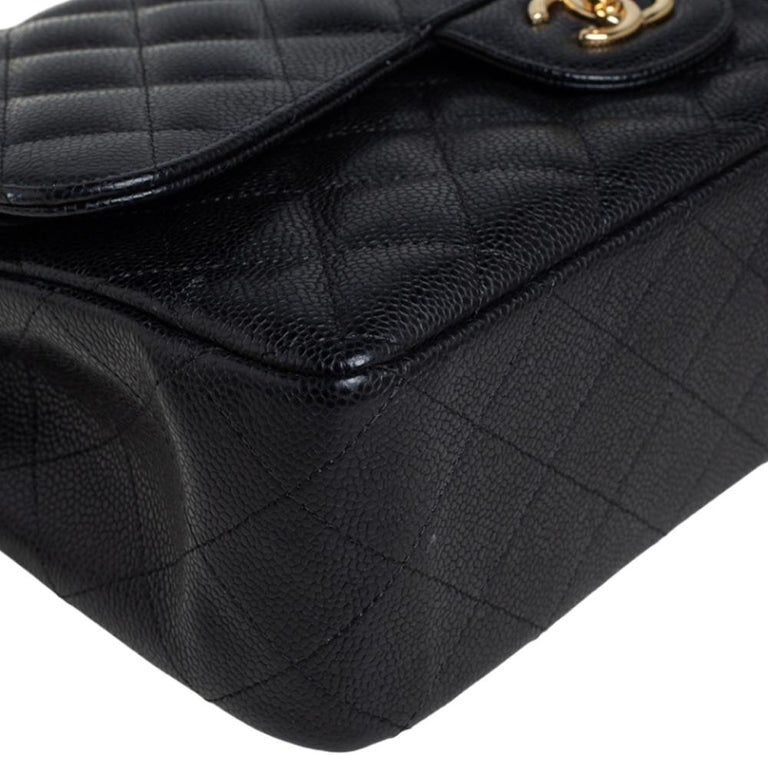 Chanel Black Quilted Caviar Leather Jumbo Classic Double Flap Bag For Sale 4
