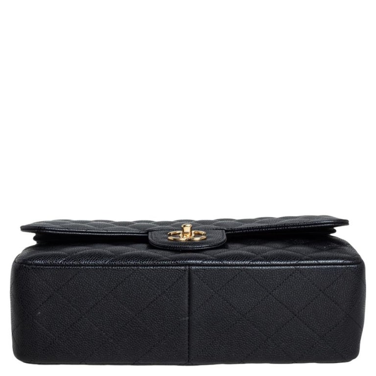 Chanel Black Quilted Caviar Leather Jumbo Classic Double Flap Bag For Sale 5