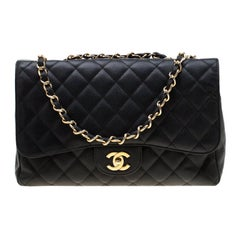Chanel Black Quilted Caviar Leather Jumbo Classic Single Flap Bag