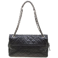 Chanel Black Quilted Caviar Leather Large Easy Flap Bag