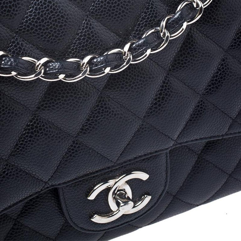 Chanel Black Quilted Caviar Leather Maxi Classic Double Flap Bag For Sale 7