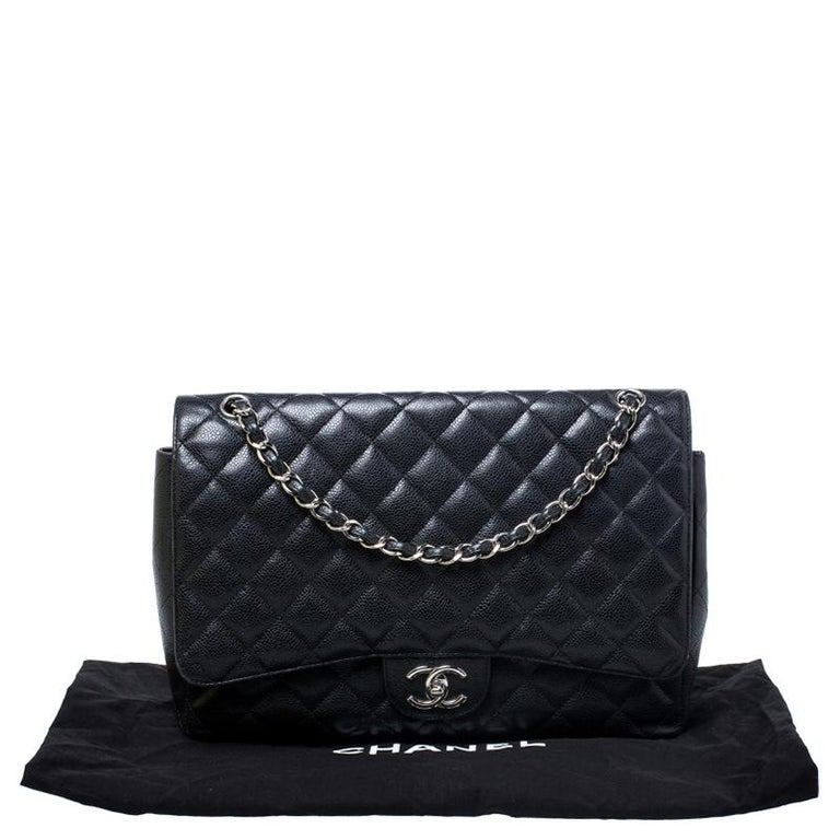 Chanel Black Quilted Caviar Leather Maxi Classic Double Flap Bag For Sale 8