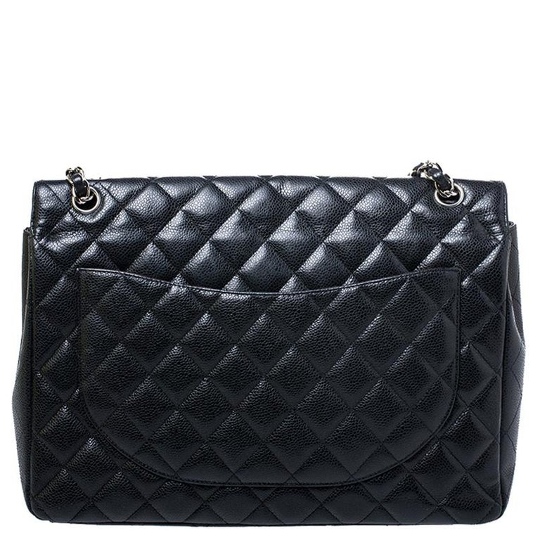 Chanel Black Quilted Caviar Leather Maxi Classic Double Flap Bag For Sale 1