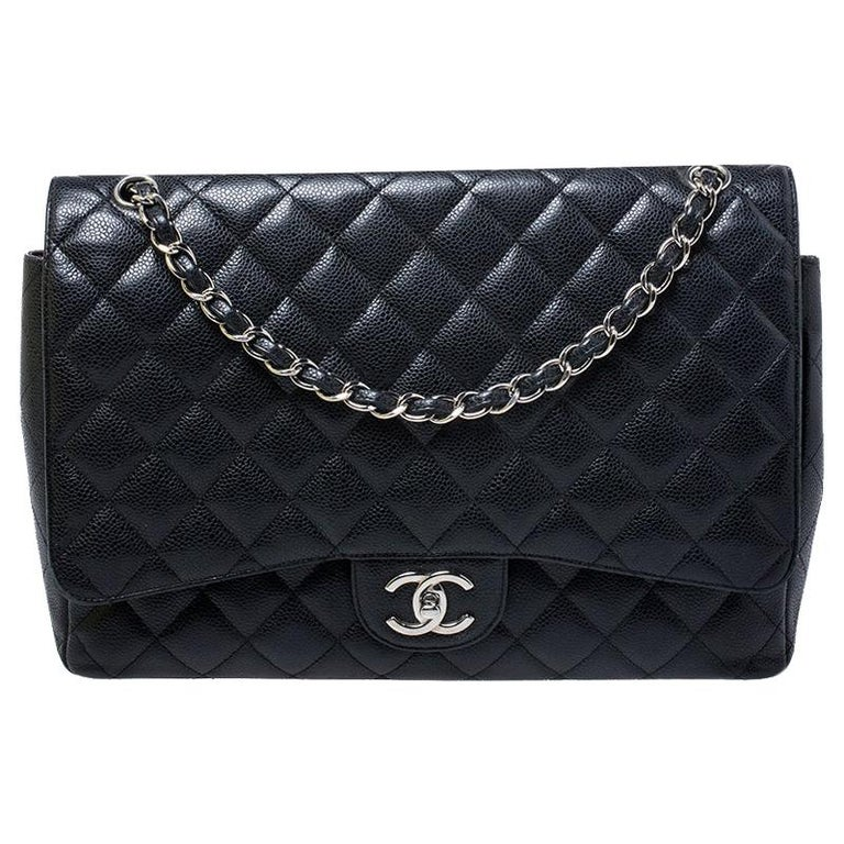 Chanel Black Quilted Caviar Leather Maxi Classic Double Flap Bag For Sale