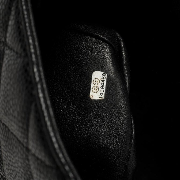 Chanel Black Quilted Caviar Leather Maxi Classic Single Flap Bag 8