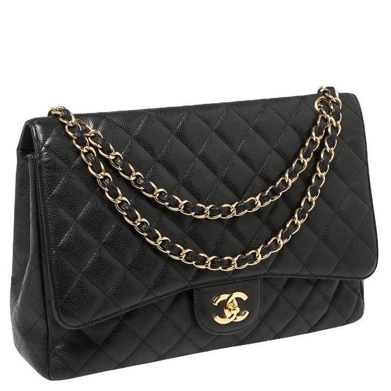 Chanel Black Quilted Caviar Leather Maxi Classic Single Flap Bag In Good Condition In Dubai, Al Qouz 2