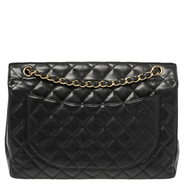 Women's Chanel Black Quilted Caviar Leather Maxi Classic Single Flap Bag