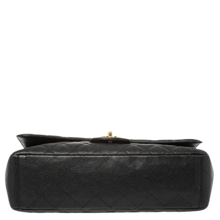 Chanel Black Quilted Caviar Leather Maxi Classic Single Flap Bag 1