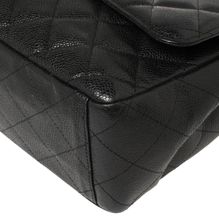 Chanel Black Quilted Caviar Leather Maxi Classic Single Flap Bag 4