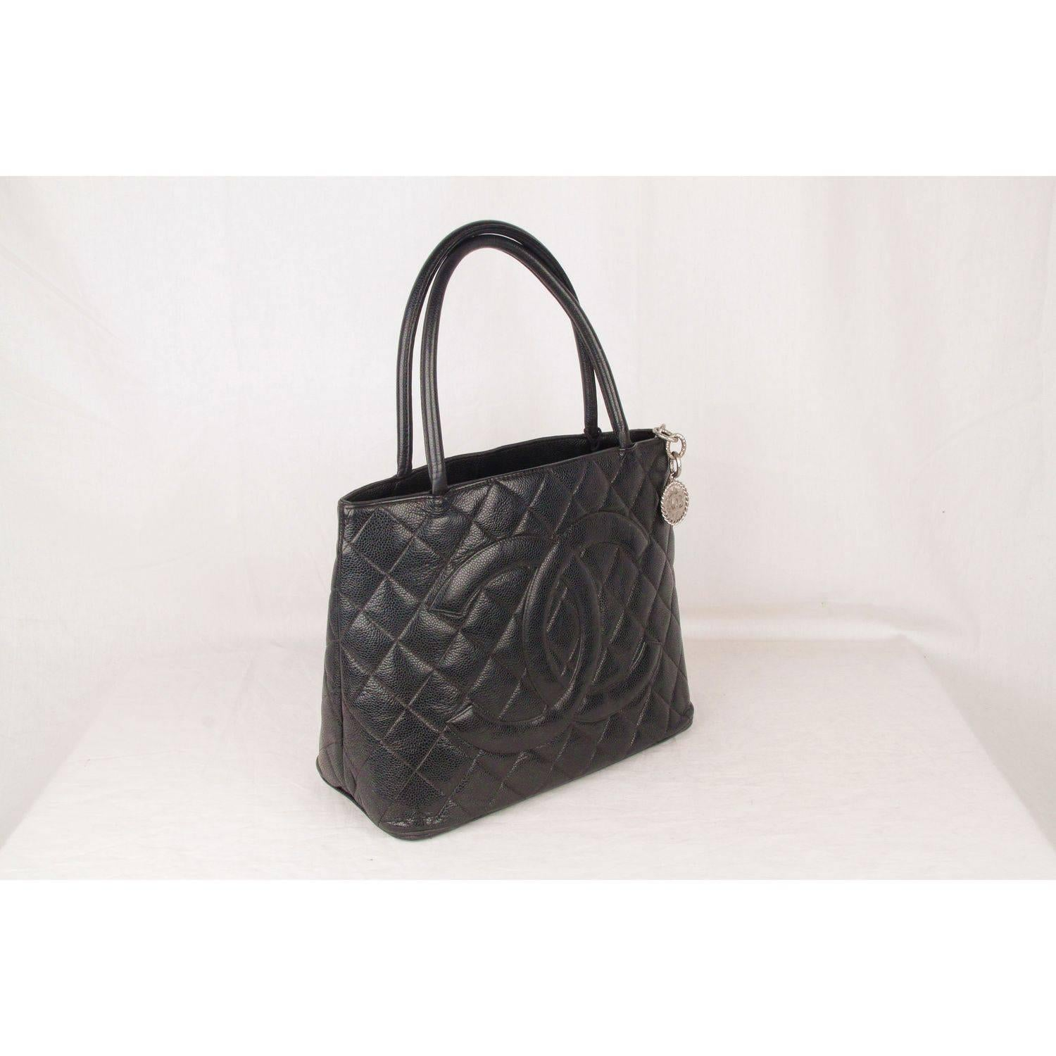 Chanel Black Quilted Caviar Leather Medallion Tote Bag For Sale At