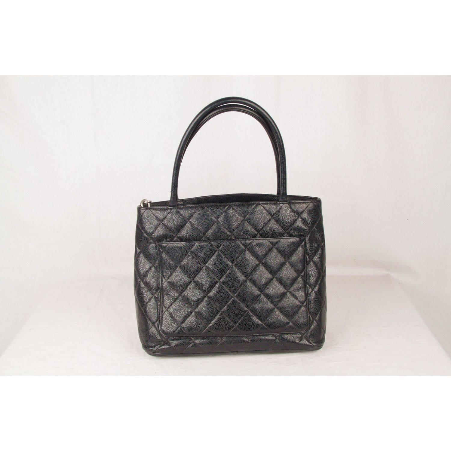 85d371ca78fe CHANEL Black Quilted Caviar Leather MEDALLION Tote Bag For Sale at 1stdibs