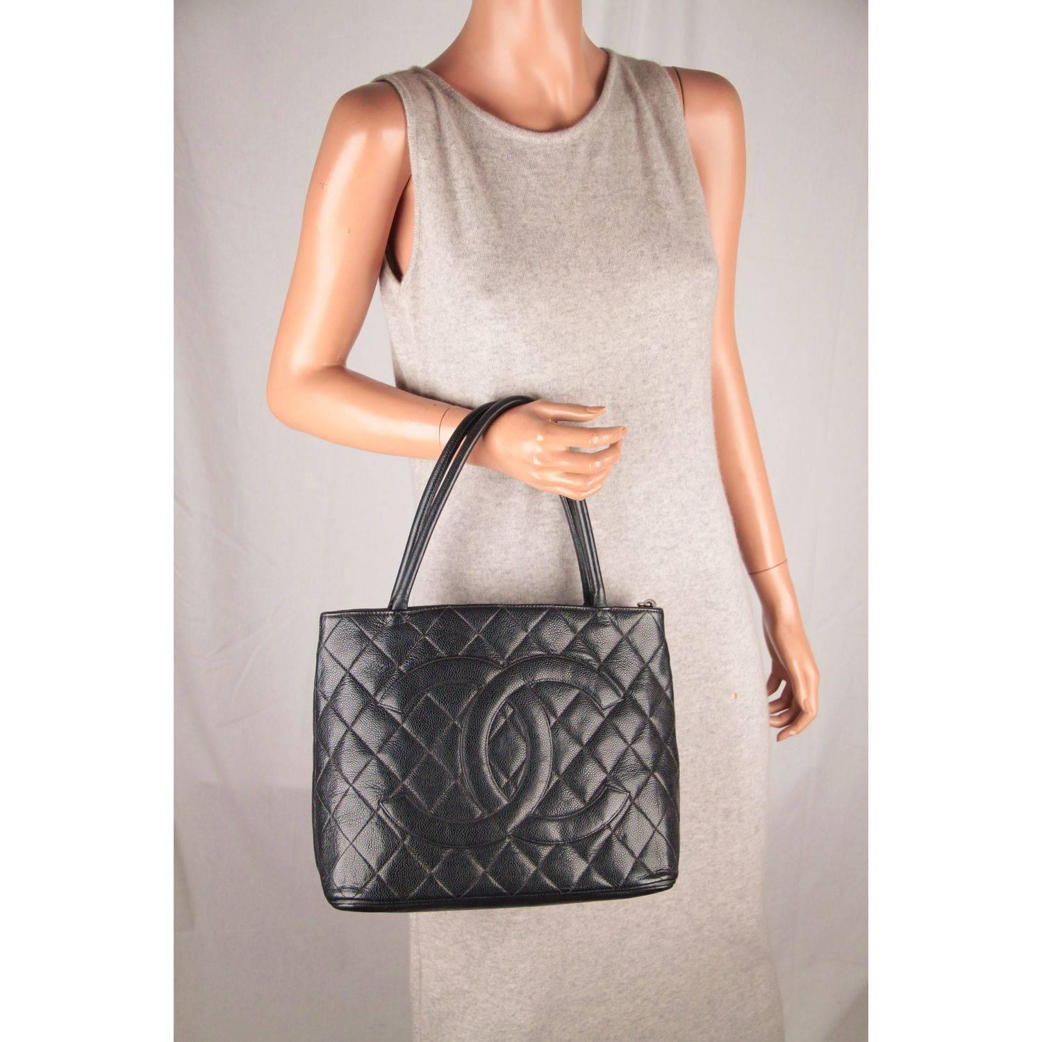 cdf80588bf CHANEL Black Quilted Caviar Leather MEDALLION Tote Bag