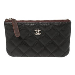 Chanel Black Quilted Caviar Leather Mini O-Case Zip Pouch