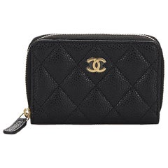 Chanel Black Quilted Caviar Leather Zip Around Coin Purse