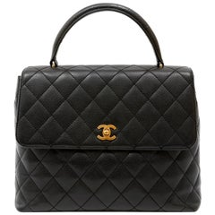 Chanel Black Quilted Caviar Top Handle Bag