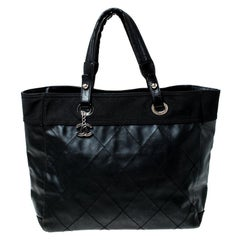 Chanel Black Quilted Coated Canvas Paris Biarritz Grand Shopper Tote