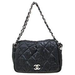 Chanel Black Quilted Coated Fabric Shoulder Bag