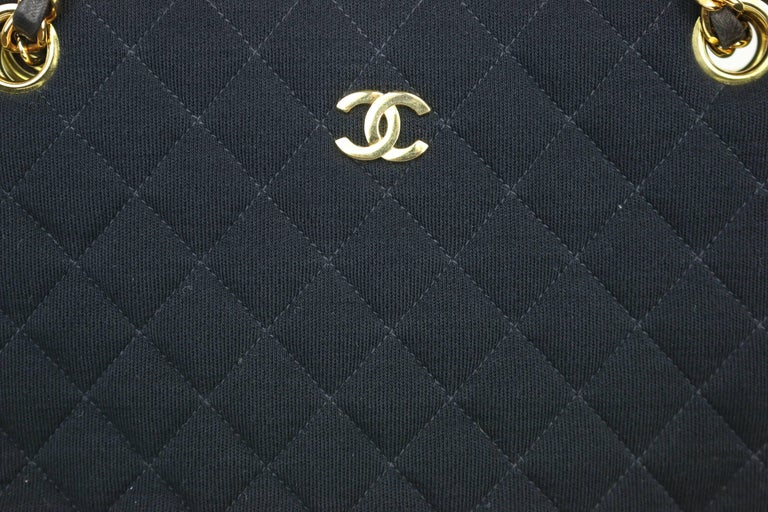 Women's Chanel Black Quilted Cotton and Leather Gold Chain Shoulder Bag  For Sale