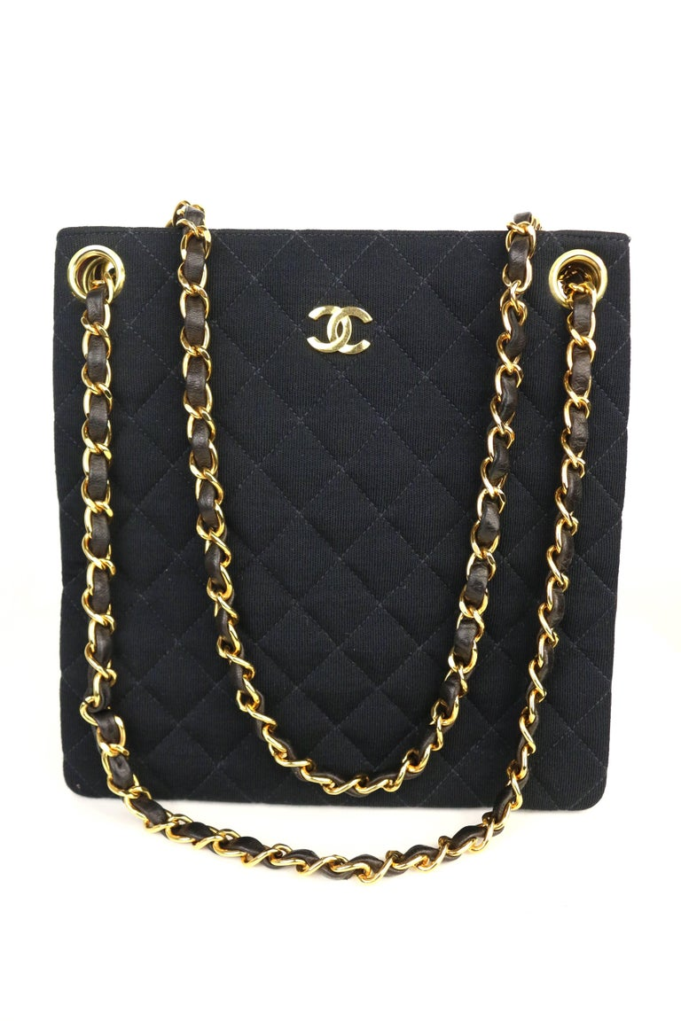Chanel Black Quilted Cotton and Leather Gold Chain Shoulder Bag  For Sale 1