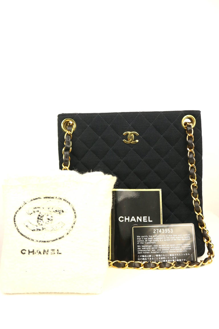 Chanel Black Quilted Cotton and Leather Gold Chain Shoulder Bag  For Sale 5