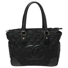 Chanel Black Quilted Fabric And Leather CC Tote
