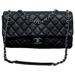 Chanel Black Quilted Glazed Caviar Medium Classic Flap Bag