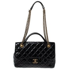 Chanel Black Quilted Glazed Leather Medium Castle Rock Top Handle Bag